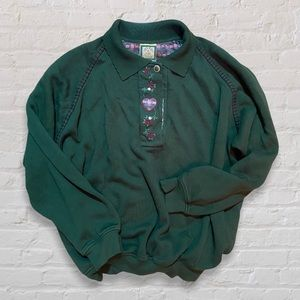 VTG Quarter Button-Up Green Pullover Sweatshirt Collar Embroidery and Appliqué